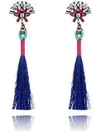 ELECTROPRIME Women Long Tassel Pendant Earrings Crystal Dangle Drop Earrings Fashion Jewelry Accessory - B077LV824N