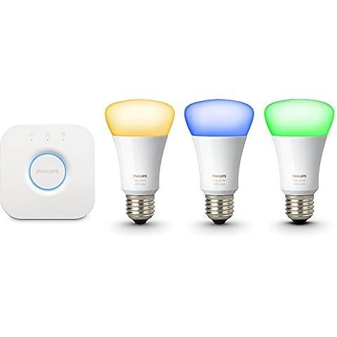 Philips Hue White and Color - Set de inicio, incluye 3 bombillas conectadas E27 y el puente Hue, controlable vía Smartphone y accesorios Hue, 16 millones de