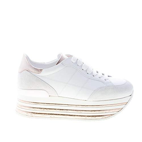 Hogan Donna Maxi H222 Sneaker in Pelle Bianco e Salmone con H impunturata Color Bianco Size 39