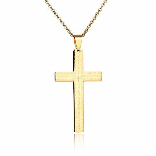 Thumby Männer Titan Stahl Schmuck Bibel anhänger Kreuz Totem Halskette Männlich überzogen 18K Nicht verblassen Gold