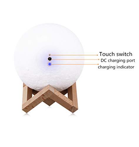 MCBQ Berühren LED Bunt Mondlicht Bluetooth Lautsprecher USB, Das 3D Nachtlicht Auflädt Kreative Kleine Tischlampe Am Nachttisch Modern Schlafzimmer,15cmindiameter