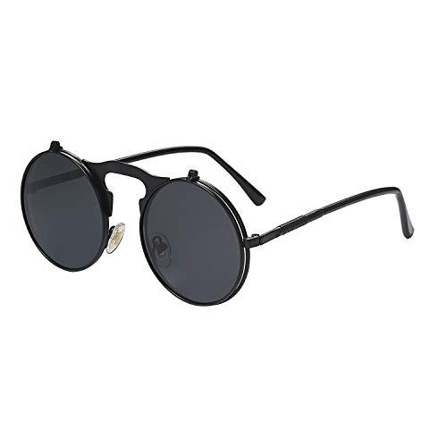 Aroncent Steampunk Sonnenbrille Runde Vintage Polarisierte Brillen Metall Rand Rahmen Flip up Linse Herren Damen UV400