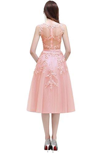Babyonline Damen Rosa Perlstickerei Spitze Applique Tüll Schärpe/Band Abendkleid Cocktailkleid Rosa (Blush)