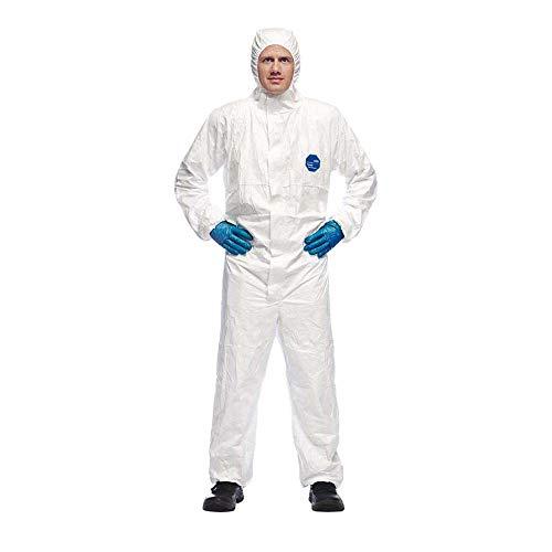 DuPont Tyvek 500 Xpert Chemikalienschutzkleidung mit Kapuze, KategorieII, Typ 5-B und 6-B Robust und Leicht Weiß Größe XL