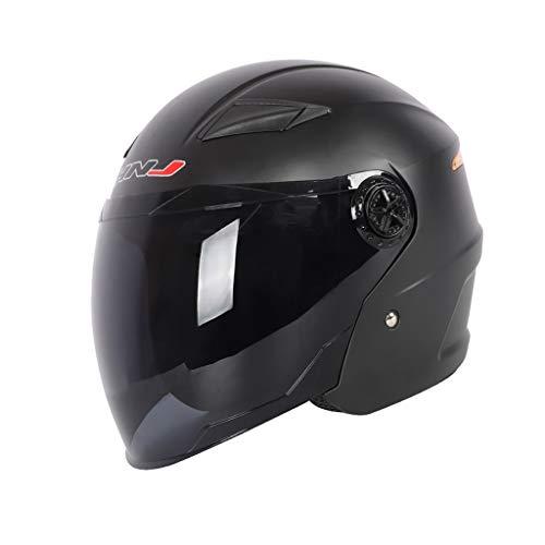 Motorrad Helm Weiblich Vier Jahreszeiten Universal Sommer Sonnenschutz UV Atmungs Helm Elektrische Motorradhelm (Farbe : Sub Black)