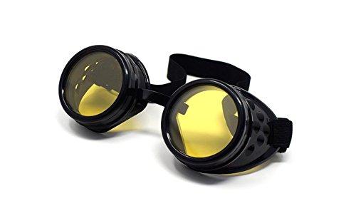Ultra schwarz mit gelben Linsen Premium-Qualität Steampunk Brille Cyber Brille Brille viktorianischen Punk-Stil Schweißen Cosplay in einem Gothic-Stil Goth rustikal niet Vintage Round Rave Neuheit (Hose Benutzerdefinierte Kleid)