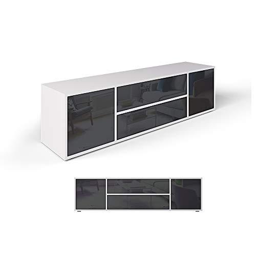Vicco Lowboard Grande Weiß Anthrazit - Fernsehschrank Sideboard TV Fernsehtisch/Hochglanz Fronten oder Soft Touch/Inkl Push to Open Funktion (Hochglanz)