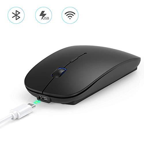 Hommie Bluetooth Maus 4.0, Kabellose Maus, 2.4G Wireless Mouse für MacBook Pro/Air, iMac, Windows/Android PC, Laptop, Computer mit DPI Einstellbare Wiederaufladbare Maus Kompakt Leise, Schwarz