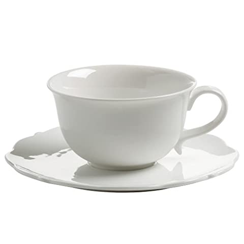Maxwell & Williams White Rose Cup with Saucer, for Coffe/ Tea, Porcelain, White, JX76511