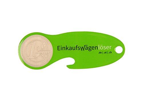 Code24 Einkaufswagenlöser Münze, Flaschenöffner als Schlüsselanhänger mit Einkaufschip & Schlüsselfinder, inkl. Registriercode für Schlüsselfundservice, Einkaufswagenchips, Key-Finder, grün