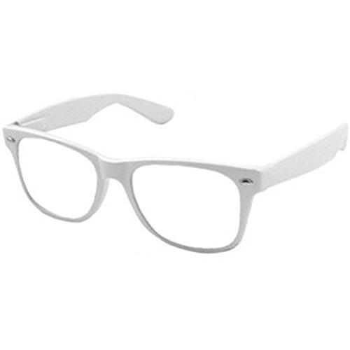 Preisvergleich Produktbild Weiß Clear Lens Wayfarer-Style Nerd Geek Retro Hipster Brille Fancy Rave Party Kleid