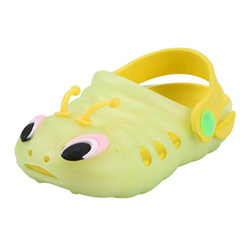 Cuteelf Unisex Gartenschuhe Clogs Kinder Gartenschuhe Kuschelige Hausschuhe Latschen Sommer rutschfeste Slippers mit Cartoon Raupe Pantoffel führten helle leuchtende Schuhe