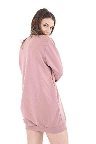 Generic sans marque Haute pour DIVA 's neuf femmes pour femme manches longues deux poches latérales ample surdimensionné Tunique Pull Sweatshirt Rose De Rose