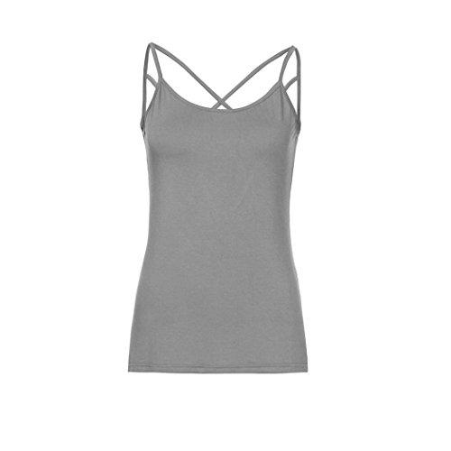 ESAILQ Damen Frauen Casual Kurzarm Stretch Falten Tunika Bluse Sommer Obteile mit Knöpfen V-Ausschnitt Ladies Shirt mit Gummizug Am Saum(M,Grau) (Stretch-wolle 3-knopf-anzug)