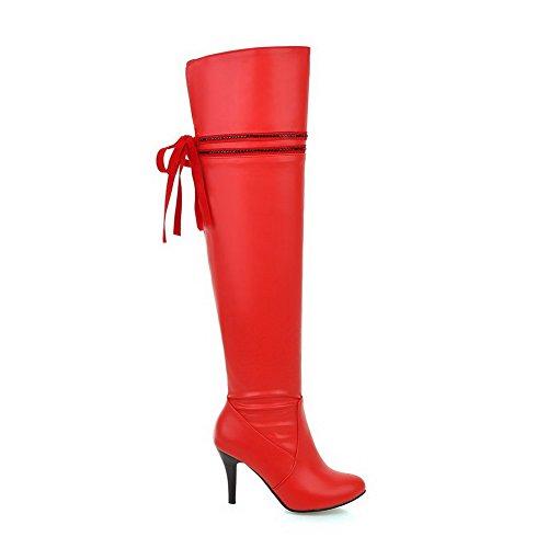 AllhqFashion Damen Eingelegt Spitz Zehe Reißverschluss Stiefel mit Beschlagene Strass, Rot, 43