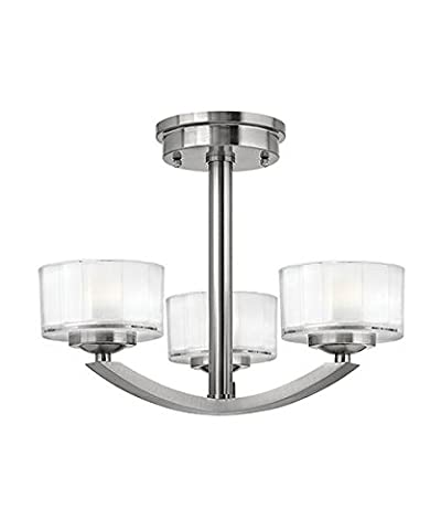 Contemporary Semi Flush 3 Way Ceiling Light with Opal Glass Lamp Shades - Brushed Nickel Finish