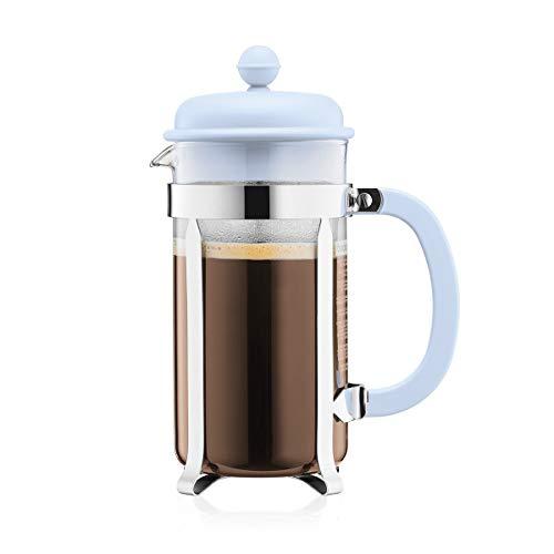 Bodum 1918-338B-Y19 CAFFETTIERA Kaffeebereiter mit Kunststoffdeckel, 8 Tassen, 1.0 l, Edelstahl, Glas