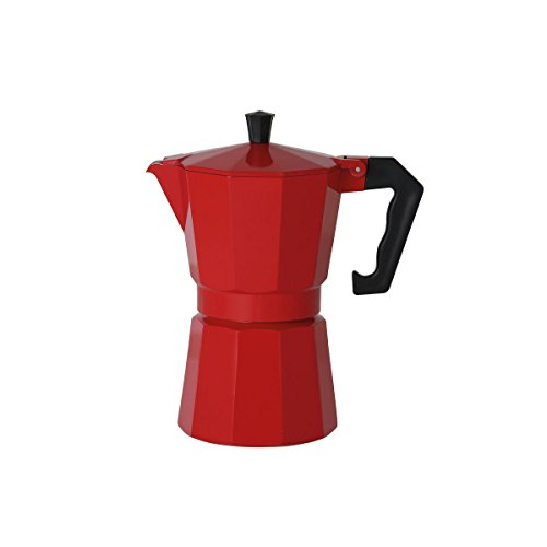 axentia 122247 Espressokocher italienisch Rot - Espressokanne aus Alumium 6 Tassen, Aluminium, mehrfarbig, 10.5 x 14 x 20.5 cm