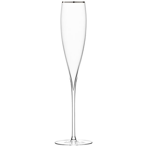 LSA International Verre de vin Savoy (Lot de 2), Platine, Champagne Flute 200ml Platinum, Set of 2