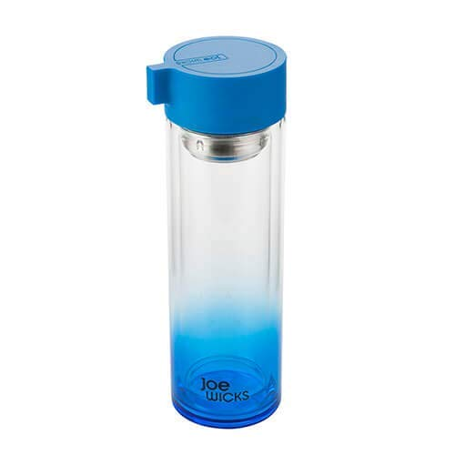Joe Wicks Trinkflasche aus Kristallglas, 350 ml, Blau