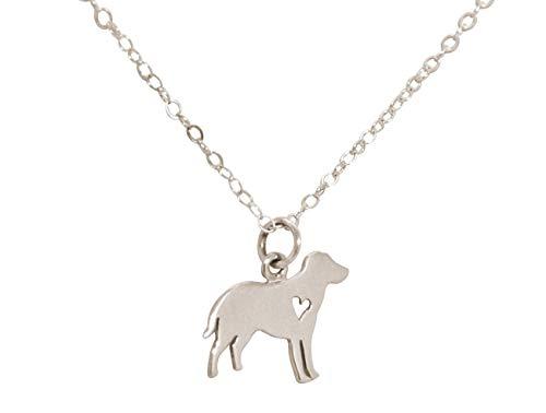GEMSHINE Halskette Labrador Hund Anhänger. Massiv 925 Silber, vergoldet oder rose an 45cm Kette. Geschenk für Haustier Herrchen, Frauchen - Made in Spain, Metall Farbe:Silber