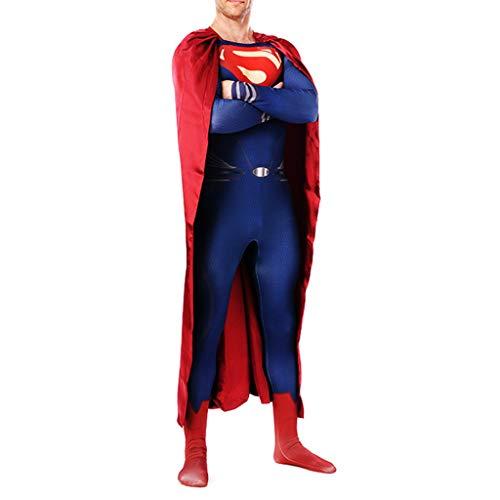 NDHSH Superman Cosplay Kostüm Halloween Unisex Zentai Jumpsuit Outfit Maskerade Weihnachten Party Performance Festival Geschenk,Blue-S (Zentai Kostüm Superman)
