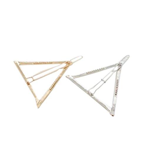 HKFV 2 Stück Haarnadel Hohle Haarnadel Dreieck geometrische Metall Haarspange Haarnadel Haarclip Haarnadel Handarbeit (Gold Silber)