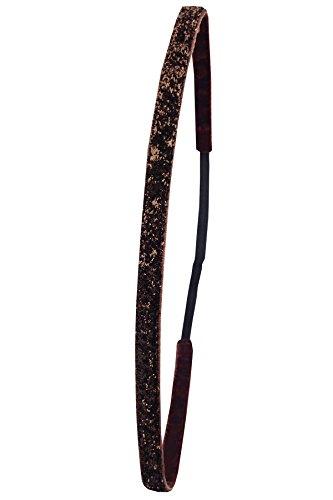Ivybands Anti-Rutsch Haarband Super Thin, Braun Glitzer, One size, IVY133