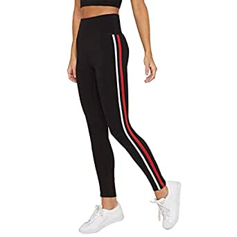 MSCREATION Ankle Length Stretchable Striped High Waist Fitness Pants for Women (Black, Free Size)