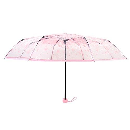 Laat trasparente ombrello ombrello pieghevole da viaggio anti uv ombrello romantico arcobaleno di ciliegio ombrello trasparente ombrello antivento per protegge da pioggia e sole