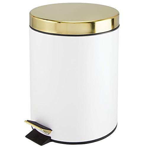 MDesign Cubo de Basura con Pedal - Contenedor de residuos de Metal de 5 litros con Tapa y Cubo plástico...