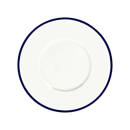 Bruno Evrard Assiette Dessert en Porcelaine Filet Bleu 23cm - Lot de 6 - Ritz
