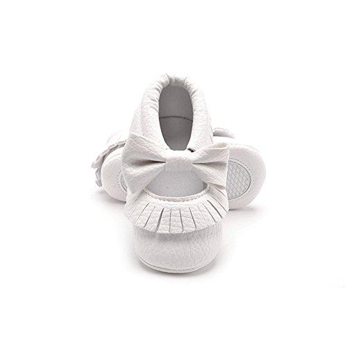baby schuhe, Morbuy Weihnachtsgeschenk Niedlich Baby Säugling Kind Junge Mädchen weiche Sohle Kleinkind Schuhe Quaste Gummiband (0-6 Monate/11CM/4.33Inches, Weiß) (Hello Kitty Schuhe Mädchen)