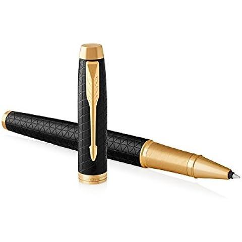Parker IM–Penna roller con refill inchiostro nero a punta fine, colore: marrone