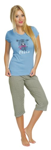 Italian Fashion IF Ensemble de Pyjama Femme Evita 0225 Turquoise