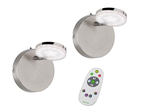 2er Set schwenkbare LED Wandleuchte SHELTON, Fernbedienung, Farbwechsel, Dimmer, Nachtlichtfunktion,...