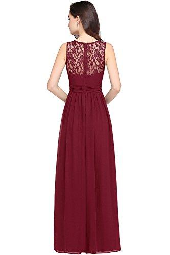 Damen Elegant A-Linie Chiffon Abendkleid Brautjungfernkleid Ballkleid lang 32-46 MisShow Wein Rot