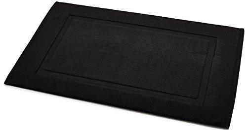 AmazonBasics Badvorleger mit rechteckiger Bordüre, Schwarz, 100% Baumwolle (1.200 g/m²), 51 x 79 cm