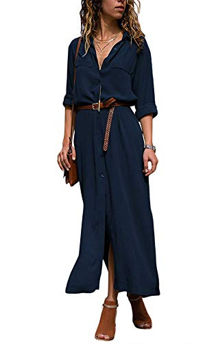 Yidarton Damen Blusenkleid Langarm V-Ausschnitt Shirt Kleid Oberteil Maxikleid (Marine, Small)