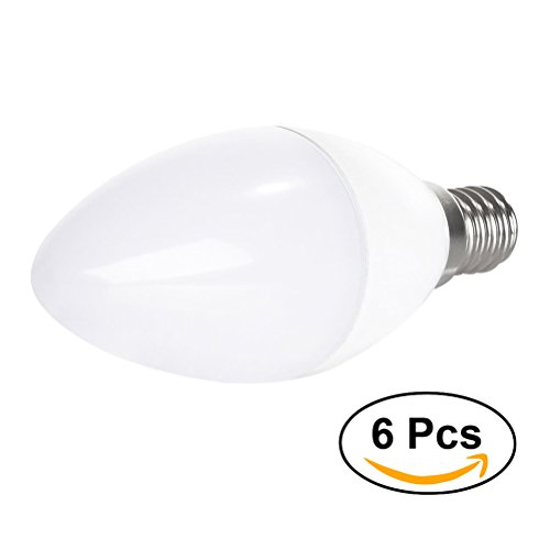 Led Candle Light Bulbs, 6pcs YouOKLight LED Candle Light Bulb E12 5W Candle Bulb for Energy Saving Replacement (White Light)