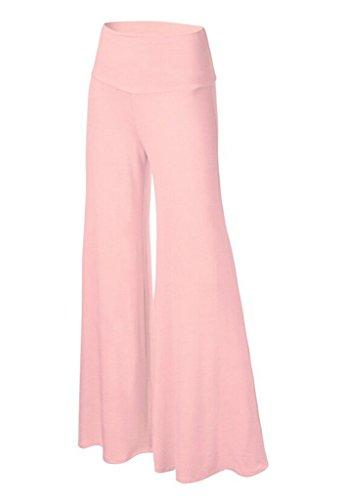 Smile YKK Pantalon Evasée Femme Large Jambe Pantalons Longues Grande Taille Sport Yoga Jogging Rose