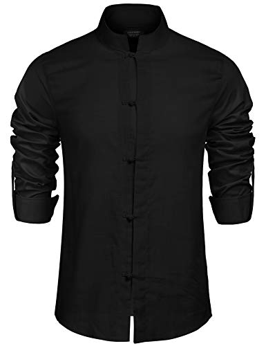 COOFANDY Herren Leinen Hemden Beiläufig Langarm Leinen Shirts Strand Hemden schwarz XXL