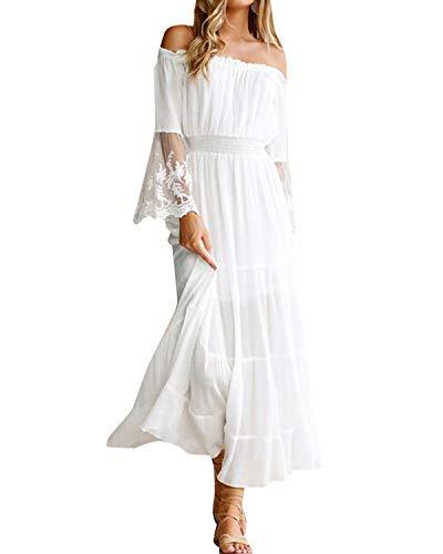 Style Dome Damen Schulterkleid Langarm Boho Kleid Blumenmuster Strandkleid Sommerkleider Lang Maxikleid 3 Weiß S