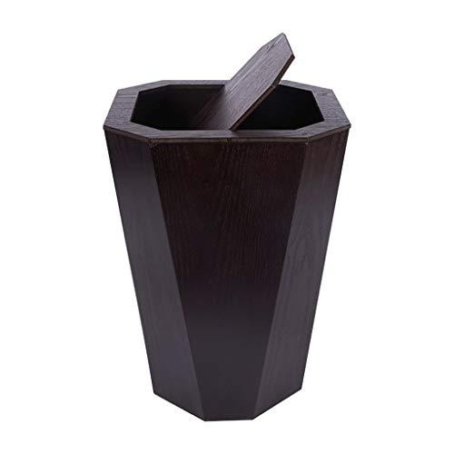 Jiqi-Mülltonnen Holz Mülleimer Rechteck Papierkorb Müll Rechteck Edelstahl Mülleimer Papierkörbe Tretauto 6.5Gallon Shake (Color : Black Brown)