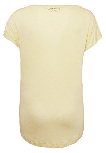 Stitch & Soul Damen T-Shirt mit Blumen Print | Elegantes Shirt mit romantischem Aufdruck Aus Leichter Viskose Yellow