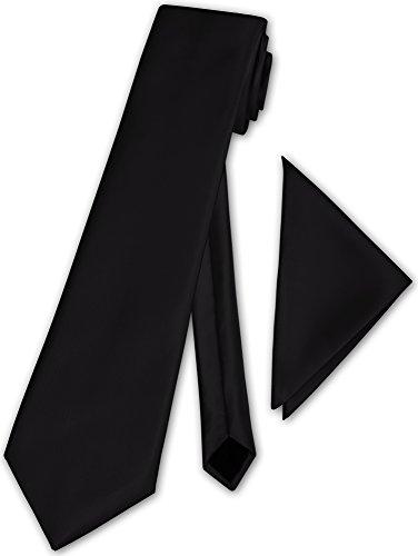 Herren Krawatte klassisch mit Einstecktuch Klassik Anzug Satinkrawatte - 30 Farben (Schwarz)