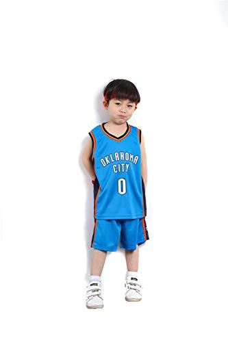 KKSY Basketball Trikot Kinderanzüge Herren und Damen Basketball Trainingsuniformen Thunder Russell Westbrook Trikots Geeignet für Kindersport Fitness,L -