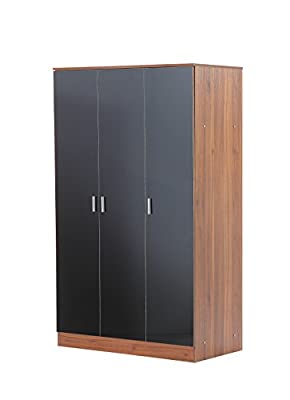 Alina 3 Door Wardrobe Black/Teak RRP £150 Our Price £120 - low-cost UK light shop.