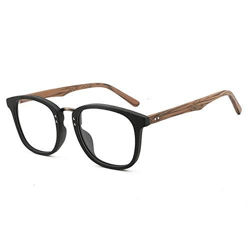 Frame Retro Brillengestell Handmade Fashion Flat Brillengestell Big Frame Wood Grain Glasses Brille (Color : 02 schwarz, Size : Kostenlos)