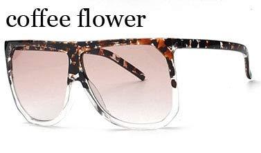 LKVNHP Zähler Großen Rahmen Schild Qualität Sonnenbrille FrauenMarkendesignerEyewear Mode Sommer Sonnenbrille Damen SpiegelWTY015 Kaffee Blume